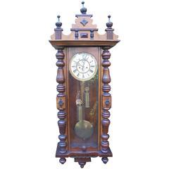 Antique Walnut Cased Double Weight Vienna Wall Clock Fattorini Bradford