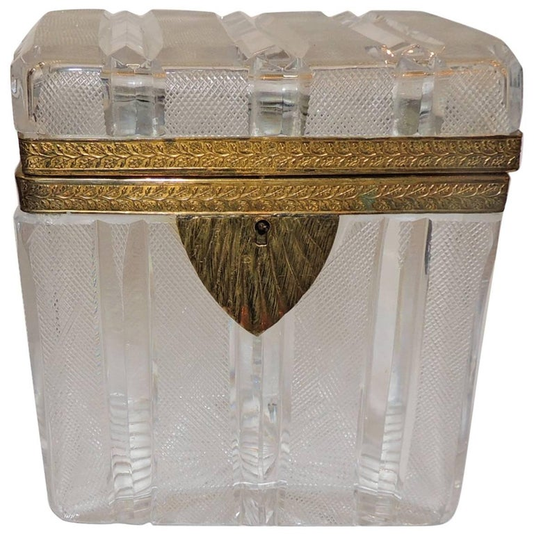 Wonderful French Faceted Etched Crystal Bronze Ormolu Mounted Casket Jewelry Box For Sale