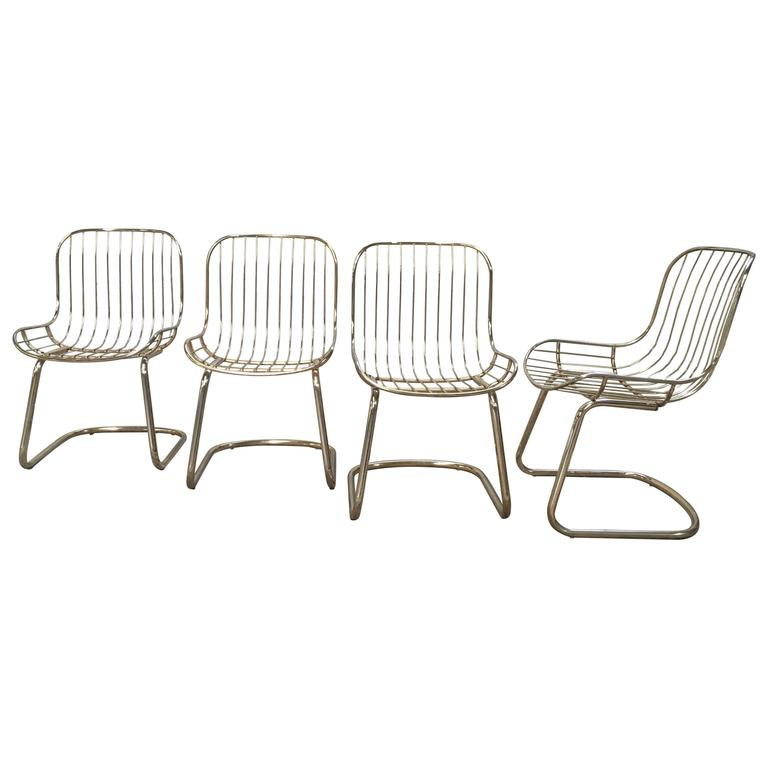 Mid-Century Modern Set of Four Gilt Metal Italian Dining Chairs from 1970s For Sale