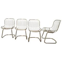 Mid-Century Modern Set of Four Gilt Metal Italian Dining Chairs from 1970s