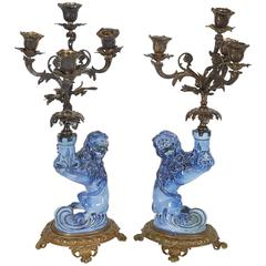 Pair of French Faience Figural Candelabra