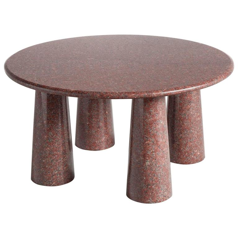 Architectural Stone Coffee Table in Balmoral Red For Sale