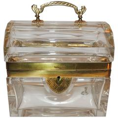 Beautiful French Dome Handled Clear Crystal Glass Doré Bronze Casket Jewelry Box