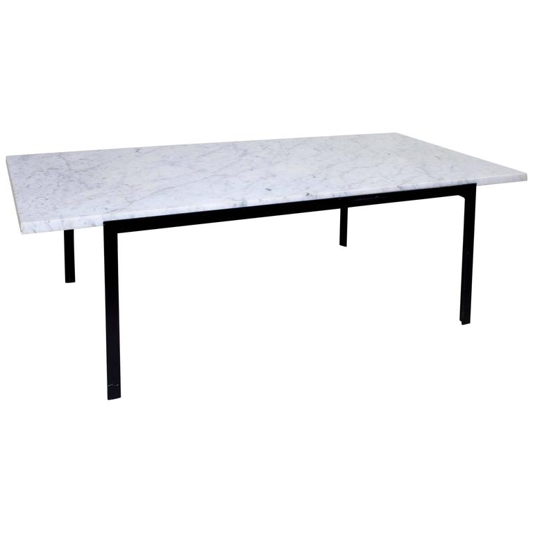 20th Century French Coffee Table from 1960s Made of Iron and White Marble