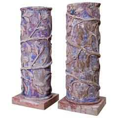 19th Century Pair of French Columns Made of Carved Wood and Plaster