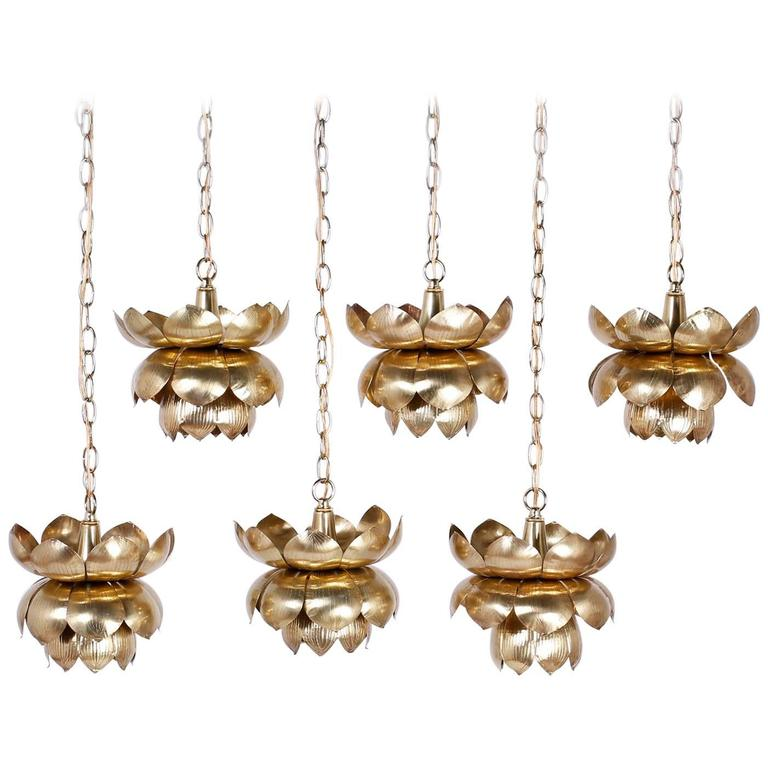 Group of Six Brass Lotus Light Pendants or Chandeliers