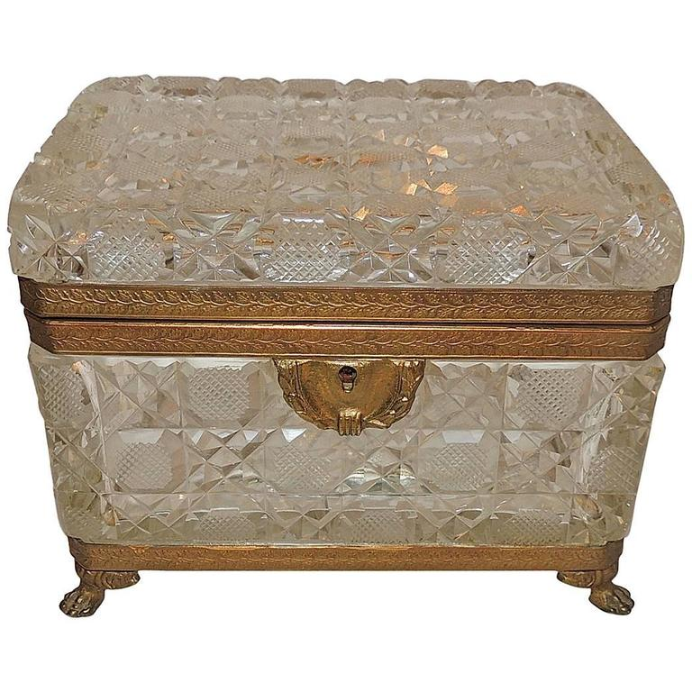 Wonderful French Faceted Crystal Bronze Ormolu-Mounted Footed Casket Jewelry Box