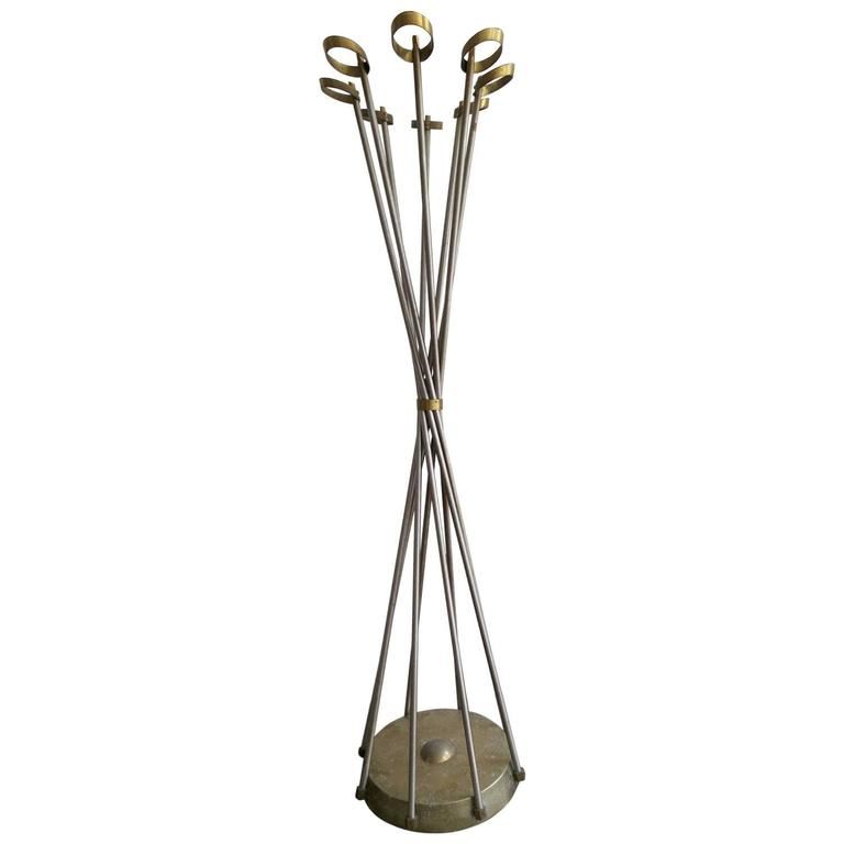 Brass and Steel Italian Hat and Coat Stand
