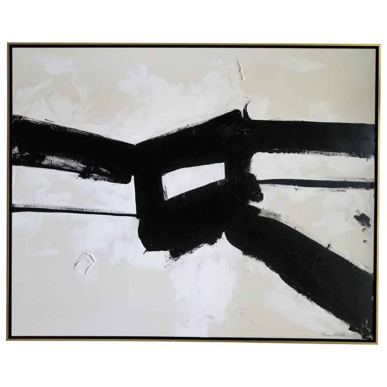 """""""Stay the Course"""" Original Black and White Abstract by Karina Gentinetta For Sale"""
