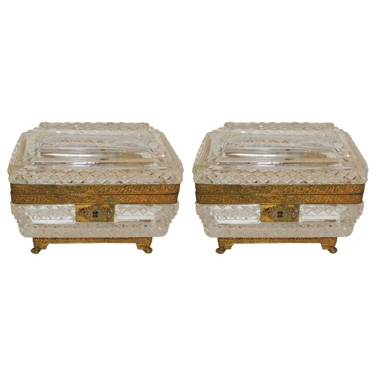 French Pair of Cut Crystal Bronze Ormolu Footed Mounted Casket Jewelry Box