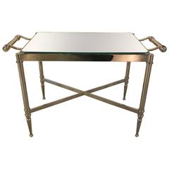 Nickle Plate Steel and Mirror Drinks Table