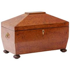 1880s Large Yew Wood English Tea Caddy with Three Compartments