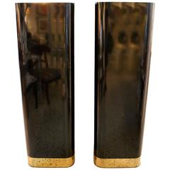 Pair of  Pedestals in Black Laminate and Polished Brass Trim
