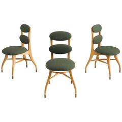 Danish Chairs in Moss Green Fabric and Brass, 1970s