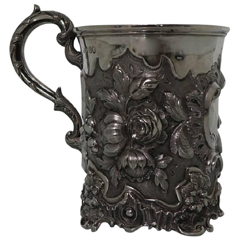 Antique Victorian Sterling Silver Christening Mug, London, 1848, Edward Edwards For Sale