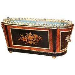 19th Century French Napoleon III Rosewood and Bronze Jardinière with Marquetry