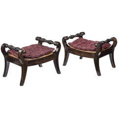 Pair of Anglo-Indian Solid Ebony Footstools