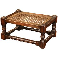 19th Century French Louis XIII Walnut Turned Legs Footstool with Cane Top
