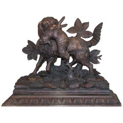 Black Forest Carving of Hunting Dog with Rabbit on Fancy Carved Base, circa 1850