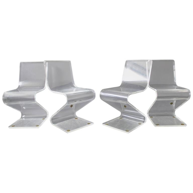 Mid-Century Modern Set of Four Lucite Z Zig Zag Chairs Hollis Jones Style, 1970s