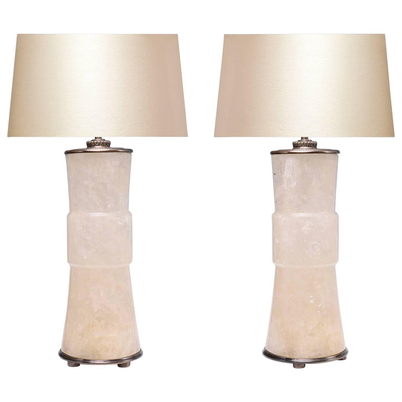 Pair of Modern Elegant Form Rock Crystal Quartz Lamps