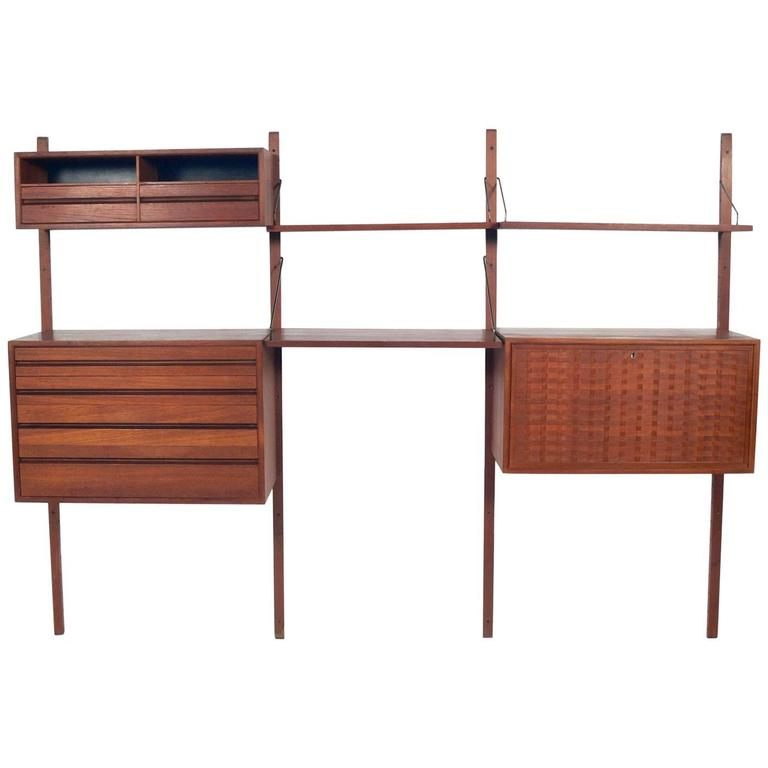 Danish Modern Teak Wall Unit or Home Office by Poul Cadovius