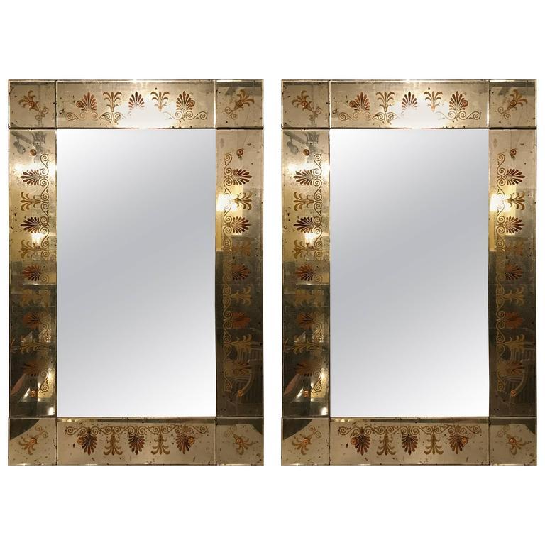 Pair of Hollywood Regency Maison Jansen Églomiséd Framed Mirrors