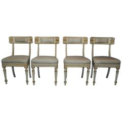 Set of Four Italian Klismos Style Side Chairs in White Paint and Silk Seat Pads