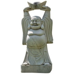 Chinese Carved Garden Sculpture of Welcoming, Happy Buddha
