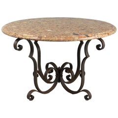 French Art Deco Wrought Iron Marble-Top Table