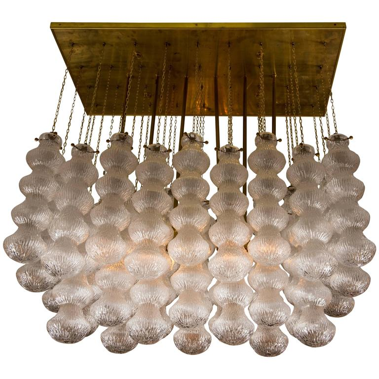 Mid Century Modern Murano Glass and Brass Chandelier By Seguso