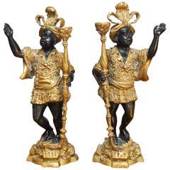 Pair of Venetian Bronze Blackamoor Candlesticks