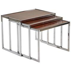 1940s Set of Three English Wood and Chrome Nesting Tables