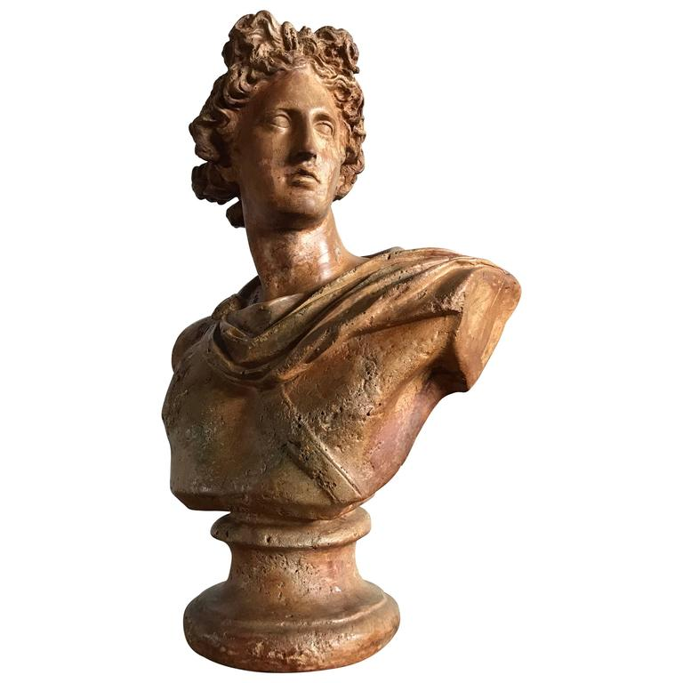 Antique Neoclassical Bust of a Greek God