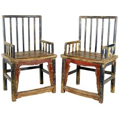 Pair of Chinese Spindle Back Armchairs