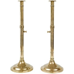 Pair of Antique Brass Pulpit Candlesticks
