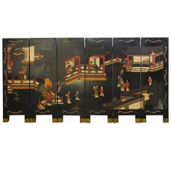 Chinese Lacquered Six-Panel Coromandel Table Screen