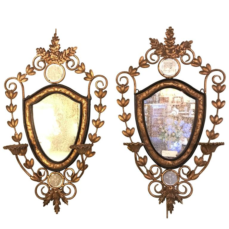 Pair Of Metal Wall Sconces With Antique Mirror Backs For