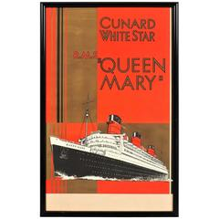 """Vintage Wm. Howard Jarvis Cunard White Star R.M.S. """"Queen Mary"""" Poster"""