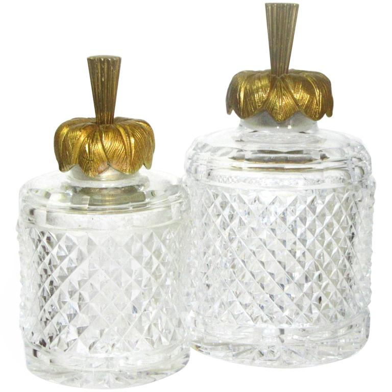 Set of Two French Cut Crystal and Gilt Bronze Vanity Bottles For Sale