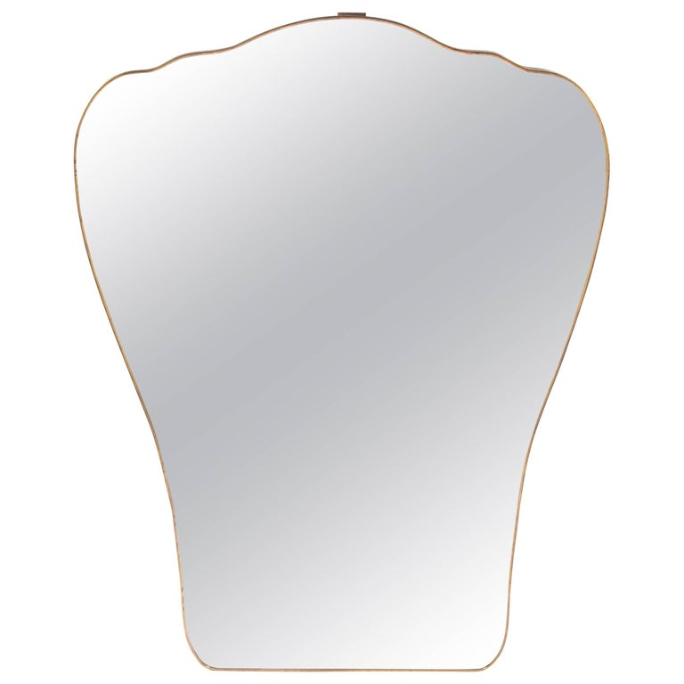 Large Italian Gio Ponti Inspired Brass Mirror