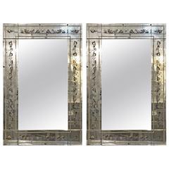 Pair of Maison Jansen Églomisé Framed Wall or Console Mirrors