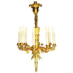 Fine French 19th Century Louis XVI Style Gilt Bronze Eight-Light Chandelier