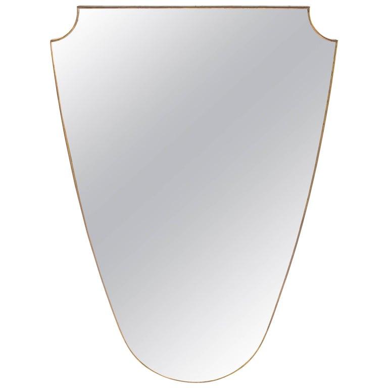 Mid-Century Italian Gio Ponti Inspired Large Brass Mirror