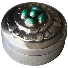Georg Jensen Sterling Silver Compact No 143A with Malachite