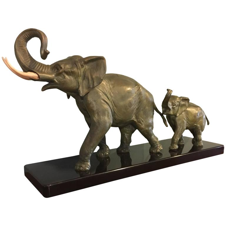 art deco spelter elephants for sale at 1stdibs. Black Bedroom Furniture Sets. Home Design Ideas