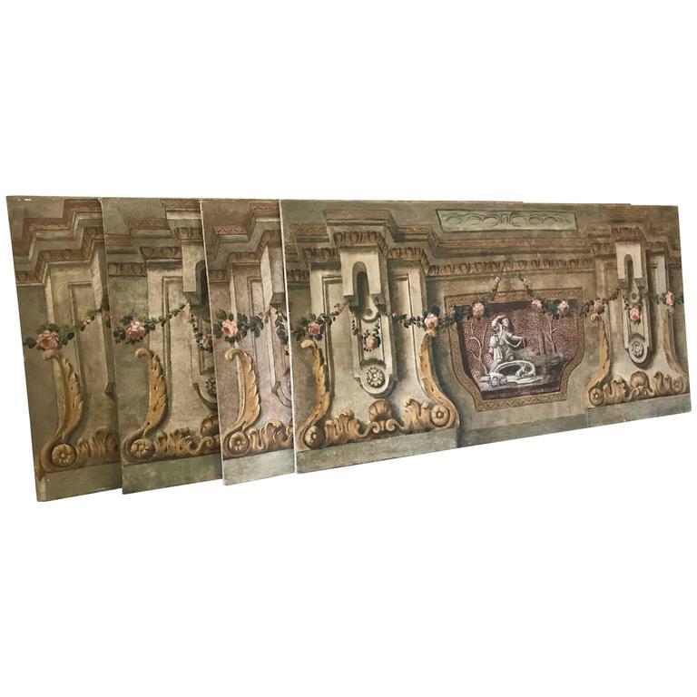 Rare Set of Four Italian 18th Century Panels, Gouache on Canvas