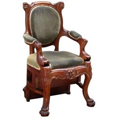Mid-19th Century Boston Oak Metamorphic Library Step Chair by Maker a. Eliaers