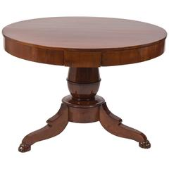 Italian Empire Walnut Pedestal Center Table