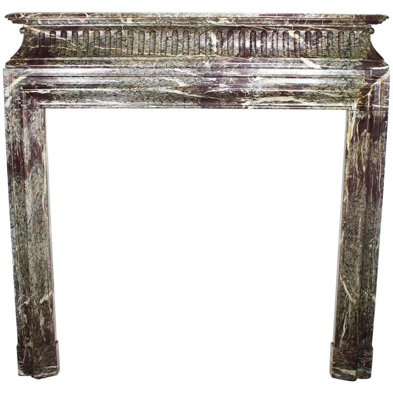 French 19th Century Louis XVI Style Carved Marble Fireplace Mantel Surround